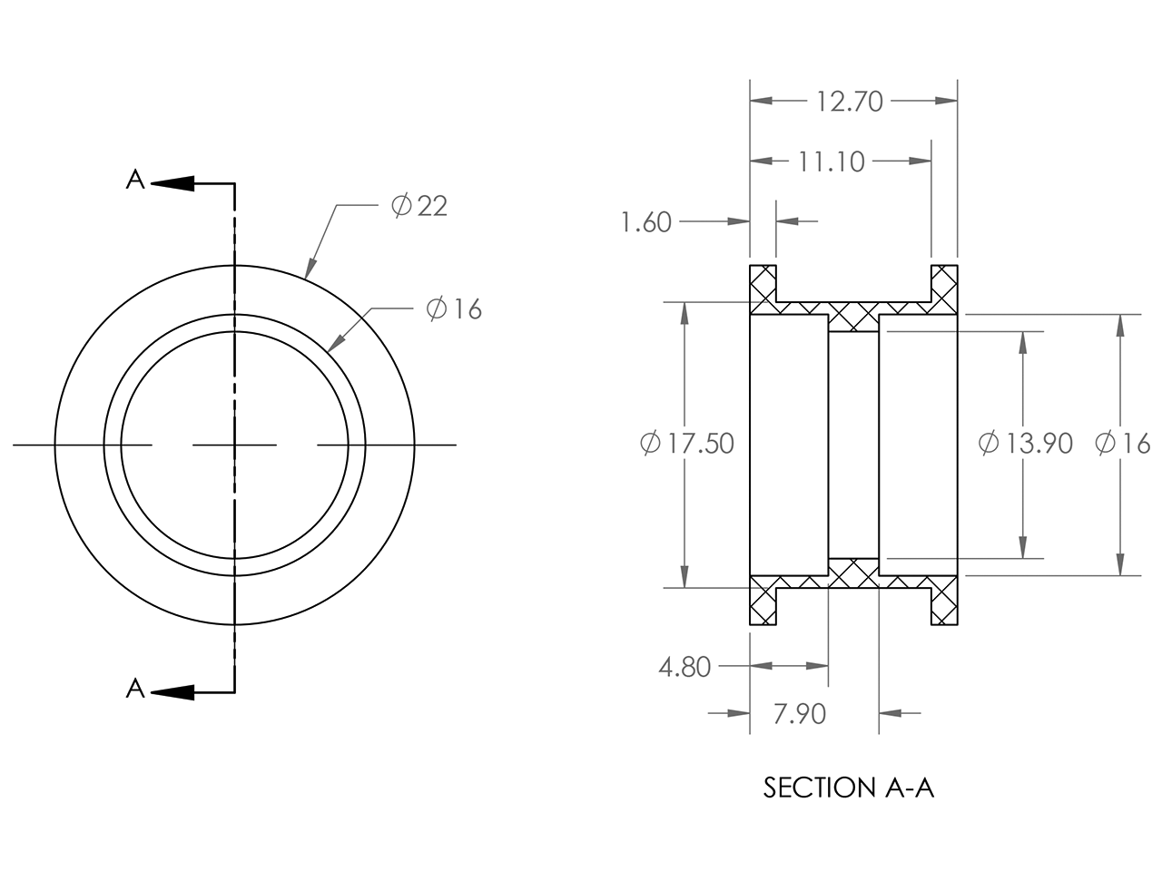 Polea ociosa lisa Delrin GT2 GT3 3GT MXL / Smooth Idler Pulley, OpenBuilds Mexico